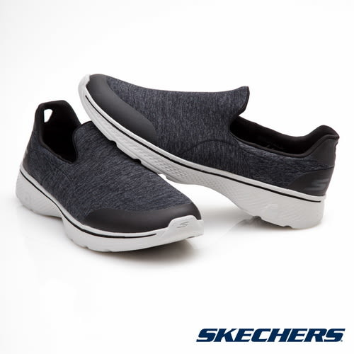 SKECHERS 男鞋 健走系列GO Walk 4 輕量 腳套健走鞋- 黑灰 54174BKGY