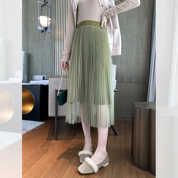 很仙的氣質高腰百褶網紗半身裙女2019秋季中長款兩面穿針織長裙子