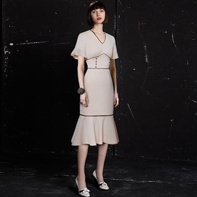 洋裝-荷葉袖時尚優雅修身包臀魚尾連身裙73ta42[時尚巴黎]