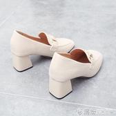 方頭英倫風小皮鞋女秋季新款單鞋女粗跟百搭樂福鞋網紅高跟鞋 快速出貨