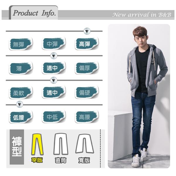 高磅數彈力湛藍繡線造型牛仔褲