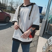 短袖t恤男夏季新款寬松七分袖中袖連帽衛衣韓版潮流5五分袖T恤衫