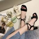 高跟鞋.夏日清新馬卡龍色花苞雙層交叉繞踝粗跟涼鞋.白鳥麗子