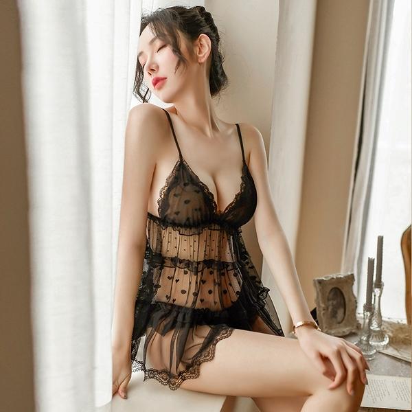 《FEE ET MOI》情趣睡衣!夢幻波點愛心大蝴蝶結層層蛋糕裙兩件組 E531670