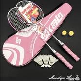 羽毛球拍雙拍2支成人男女學生初學粉色訓練比賽球拍送羽毛球 YXS  【快速出貨】