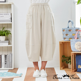 【Tiara Tiara】百貨同步新品aw 兩側口袋縮口寬褲(米白/藍/卡其)