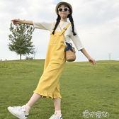 夏季女裝時尚百搭寬鬆顯瘦高腰中長款寬管連身褲牛仔背帶長褲 港仔會社