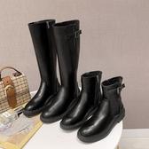 長靴英倫時裝靴女潮夏季新款百搭長筒騎士靴黑色機車短靴