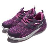 FILA 慢跑鞋 J903Q 低筒 襪套式 紫 白 運動鞋 潑墨 基本款 女鞋【PUMP306】 5J903Q991