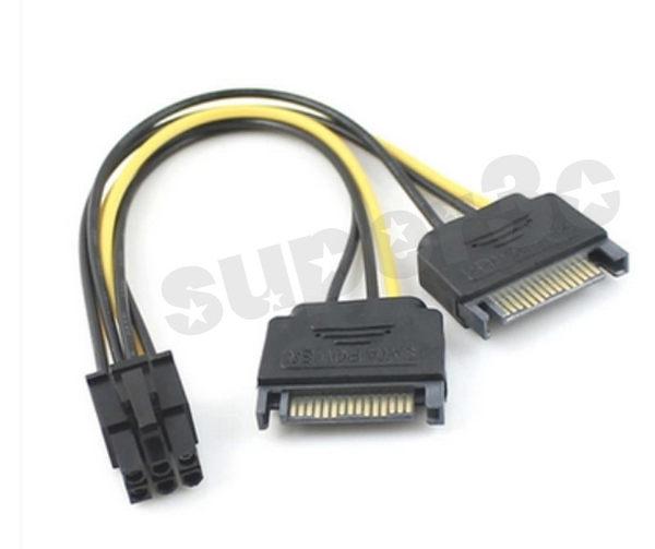 新竹※超人3C SATA 電源 擴充 15p 轉 6P 顯卡反向 6PIN 顯卡 電源線 0010036@3L4