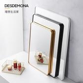 浴鏡 化妝鏡 方形浴室鏡掛墻衛生間鏡子帶置物架壁掛化妝鏡洗手間廁所衛浴鏡