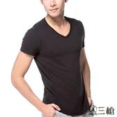 【三槍牌】時尚經典純棉型男彩色V領短袖衫~3件組(隨機取色)