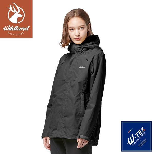 【Wildland 荒野 女 輕薄防水高透氣機能外套《黑》】W3913/連帽外套/風衣/衝鋒外套