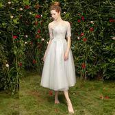 伴娘服中長款2019新款春季晚禮服裙女姐妹團顯瘦主持人粉色