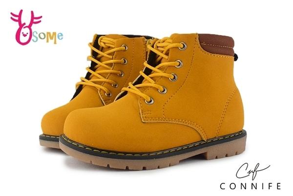 CONNIFE 男女童短靴 中小童 潮流色系綁帶馬丁靴 M8086#黃色◆OSOME奧森童鞋