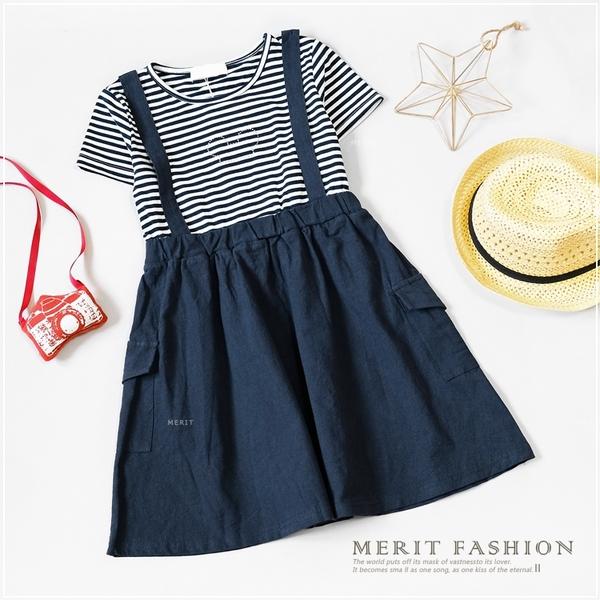 大童 簡約條紋水鑽米奇洋裝 女童 春夏 傘裙 洋裝 連身裙 長版