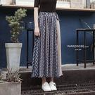 腰間繫帶拼色雪紡長裙 / 衣櫃控-WardrobE /FA032