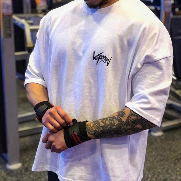 肌肉背心 寬鬆大碼運動短袖男肌肉兄弟純棉半袖健身t恤跑步訓練服休閒上衣