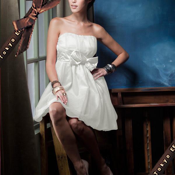 東京衣服-夢幻禮物 胸前抓皺腰開蝴蝶結鑲水鑽緞面小禮服 白