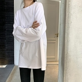 白色打底衫女春秋新款長袖內搭上衣韓版寬鬆洋氣黑色圓領T恤 雙十一全館免運