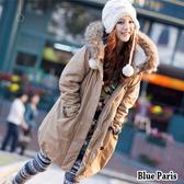 藍色巴黎 ★ 秋冬 韓版帽裡羊羔毛排釦拉鍊中長版軍裝外套  風衣外套《2色》【28337】