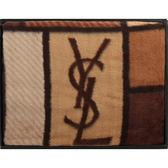 YSL經典LOGO色塊雪綿蓋毯禮盒(駝)989208-50