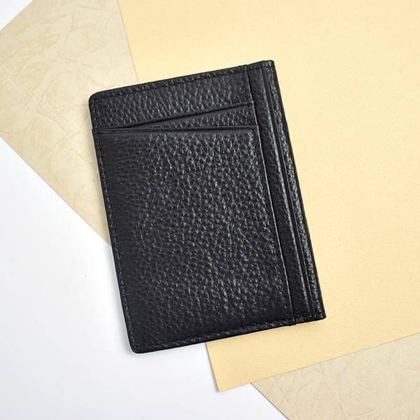名片夾 黑色真皮上掀式票卡夾NW491