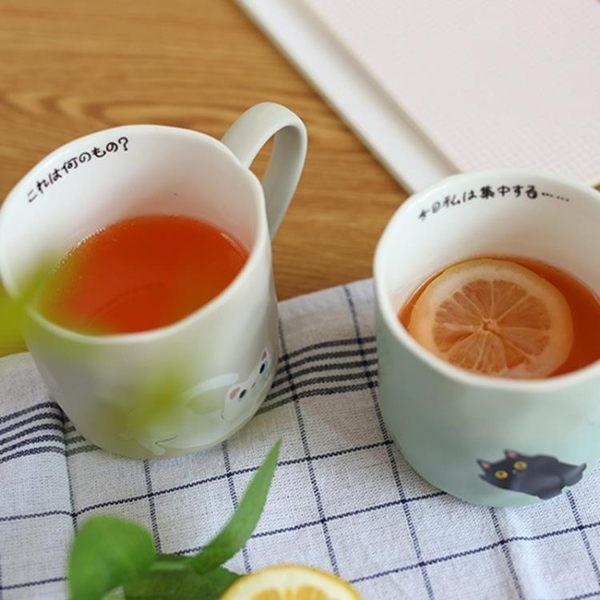 2019新款 貓爪杯日式zakka復古卡通咖啡杯子男女貓咪馬克杯陶瓷杯早餐水杯 初見