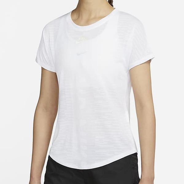 NIKE Air 女裝 短袖 針織 輕盈 導濕 速乾 慢跑 休閒 健身 印花 白【運動世界】CZ9155-100