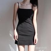 洋裝 黑色基礎款吊帶裙復古純色平口收腰高腰顯瘦性感側開衩吊帶連身裙