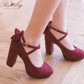 鞋子 升級版‧素面後蝴蝶結交叉繫踝粗跟鞋-Ruby s 露比午茶