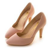 amai法式素面低口尖頭高跟鞋 粉