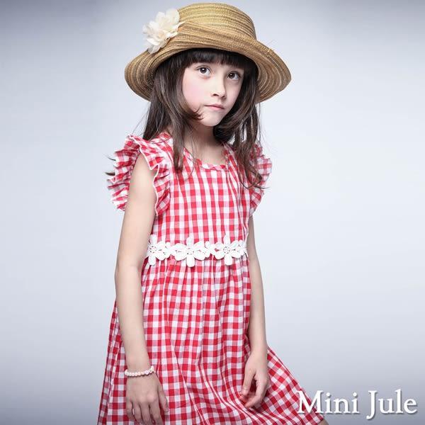 Mini Jule 女童 洋裝 花朵蕾絲腰帶荷葉袖格紋洋裝(紅)