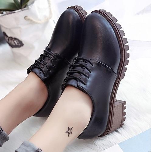 (免運)DE shop - 復古小皮鞋繫帶粗跟牛津鞋 - GT-4698