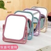 歐式台式化妝鏡子簡約高清雙面化妝鏡子台式梳妝鏡宿舍桌面旋轉鏡