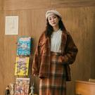 Queen Shop【02071289】暖色格紋毛呢大口袋排釦襯衫外套*現+預*