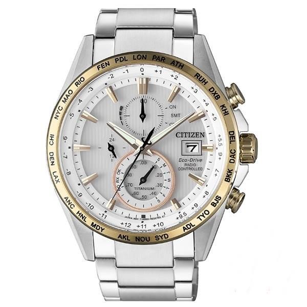 CITIZEN星辰Eco-Drive 紳士時尚鈦金屬電波腕錶 -AT8156-87A -白金