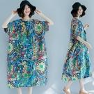 洋裝 連身裙 250斤大碼女裝夏裝短袖棉麻洋裝顯瘦200斤胖mm中長款特大號藏肉 尾牙交換禮物