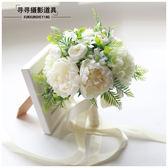 新娘手捧花 粉紅白仿真韓式婚禮花束