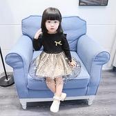 女童長袖洋裝女童洋裝秋裝新款洋氣小童網紗裙子女寶寶長袖公主裙兒童裝快速出貨