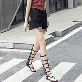 羅馬涼鞋 夏季新款羅馬平底高筒交叉綁帶涼靴鏤空 夾趾時尚女靴