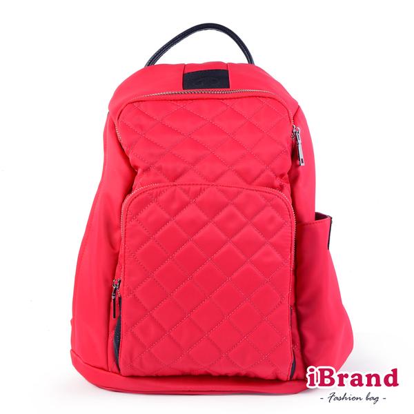 【iBrand】率性菱格紋後開式防盜尼龍後背包(M)-莓果粉 HS-2003-24PK