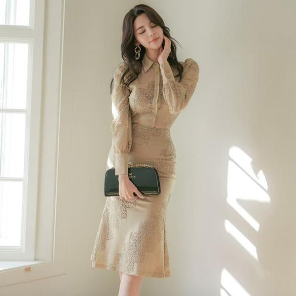 OL洋裝 春裝女韓版御姐輕熟風襯衫修身蕾絲兩件套職業連身裙潮  店慶降價