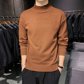 半高領毛衣男士韓版個性針織衫加厚冬長袖純色小中領打底衫男潮流