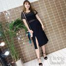 夏季新款大碼修身氣質顯瘦性感鏤空蕾絲網紗拼接連衣裙 YX2058『美鞋公社』