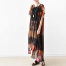 洋裝-設計寬鬆大碼數碼印花短袖雪紡