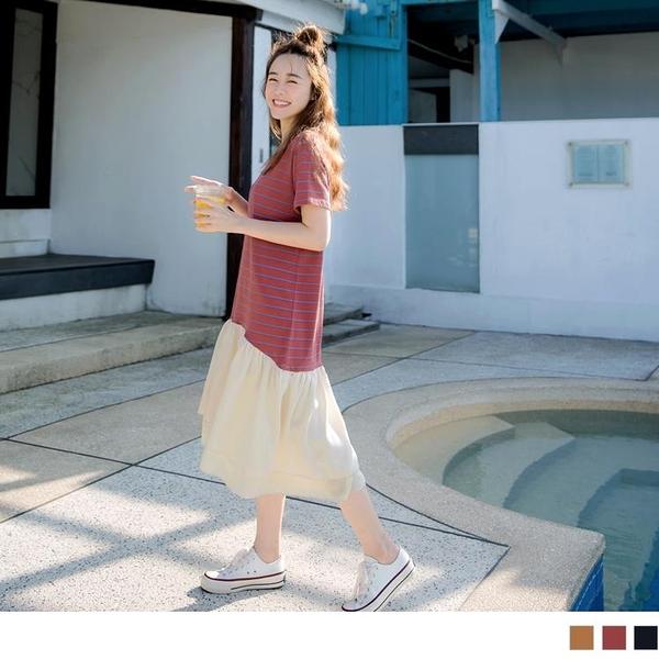 《DA7559-》高含棉條紋連身短袖拼接傘襬洋裝 OB嚴選
