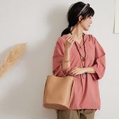 【慢。生活】棉料褶皺設計寬版休閒襯衫 77268  FREE 粉紅色