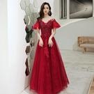 婚紗禮服 敬酒服新娘2020新款紅色長款平時可穿結婚訂婚回門服顯瘦晚禮服女