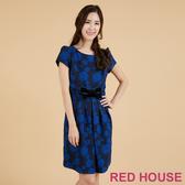 RED HOUSE-蕾赫斯-玫瑰緹花蝴蝶結洋裝(深藍色)
